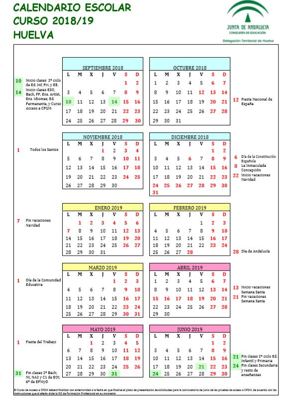 Calendario Escolar Huelva.C E I P Antonio Guerrero Calendario Escolar