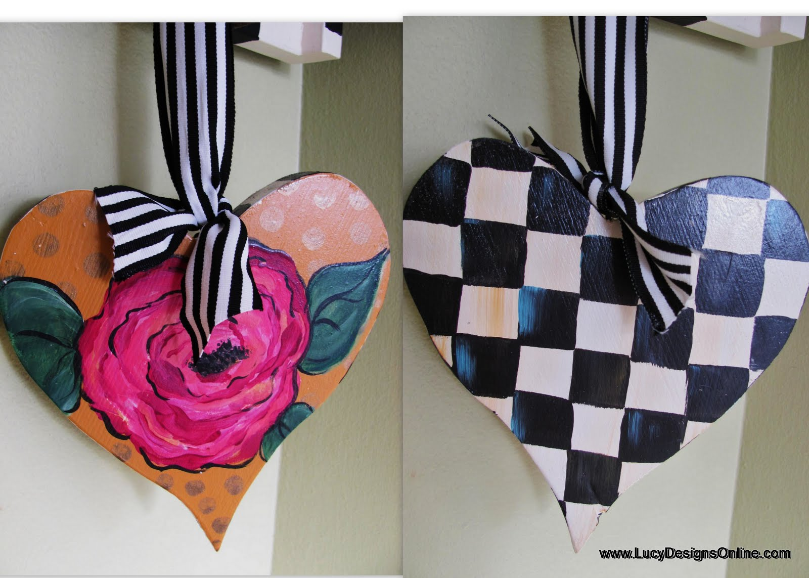 hand painted wooden Valentine hearts
