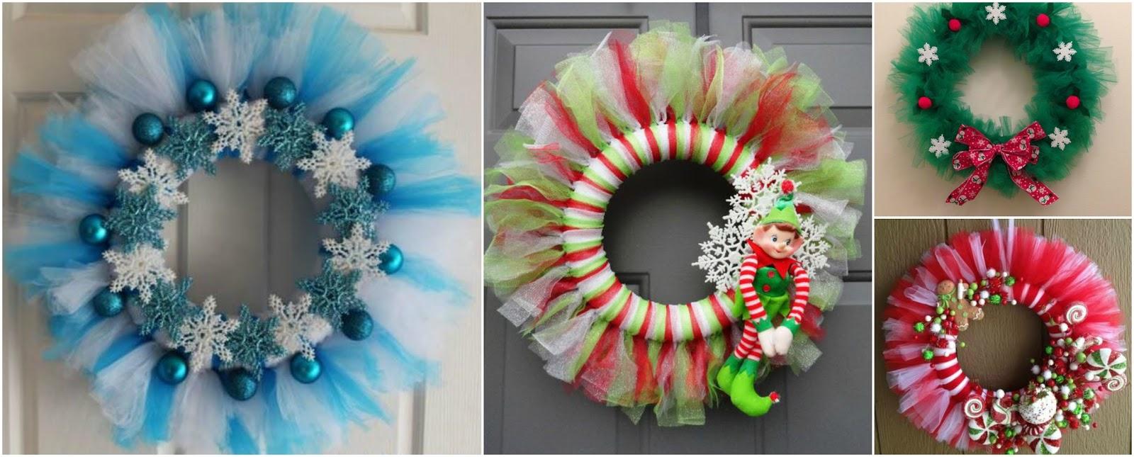 Aprende c mo hacer 9 hermosas coronas navide as con tul belleza y peinados - Como hacer coronas navidenas ...