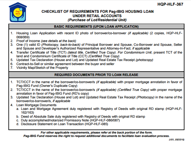 Checklist of Requirements for PAG IBIG Housing Loan Fund