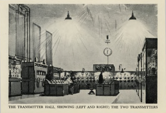 Sketch of the transmitter hall at The London Twin-Wave Broadcasting Station Brookmans Park