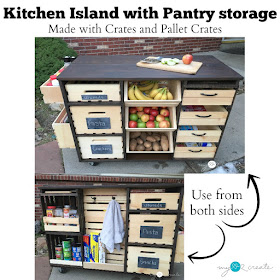 Build an awesome Kitchen Island with pantry storage with crates and pallet crates!  Free Plans at MyLove2Create