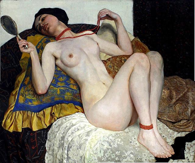 Wilhelm Gallhof - La collana di corallo - arte - erotiso - nudo femminile