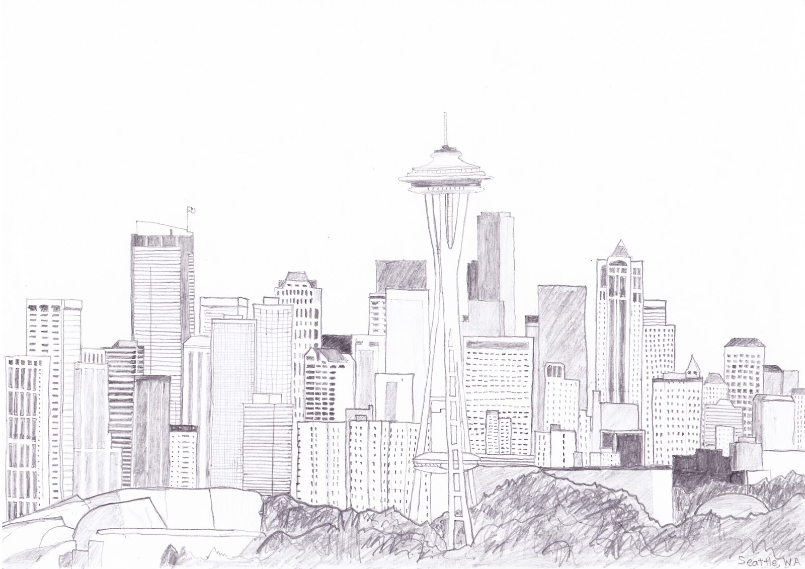 28 Sketch Of Seattle Skyline Seattle