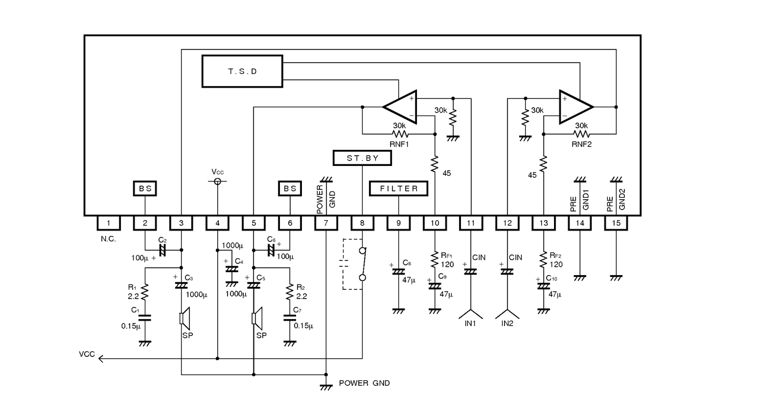 ba5417 stereo power amplifier circuit