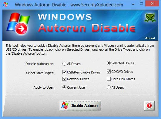 Portable Windows Autorun Disable.