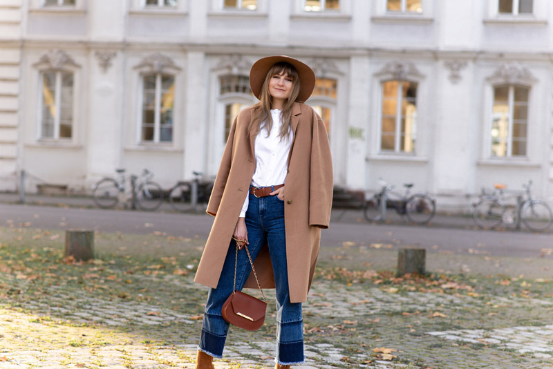 fedora hat beige coat fall outfit idea
