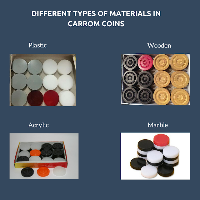 DIFFERENT TYPES OF MATERIALS IN CARROM COINS