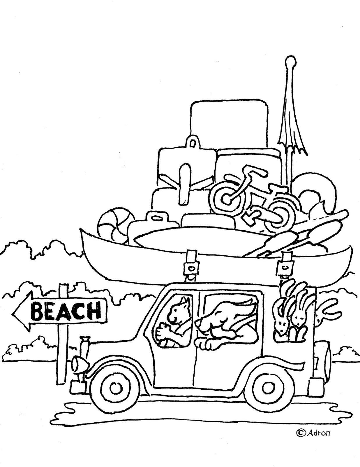 coloring pages for kids by mr adron animal friends drive to the