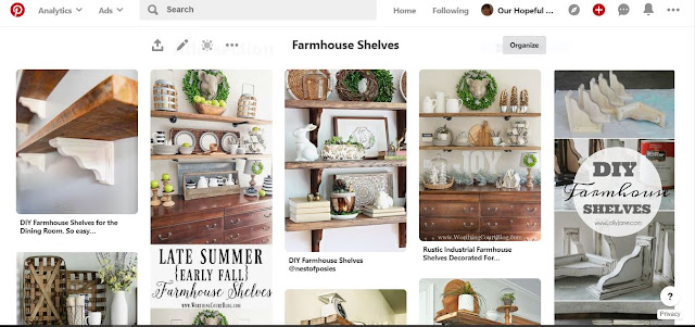 Our Hopeful Home's Farmhouse Shelves Pinterest Board