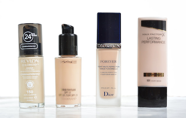 Revlon Colorstay, Mac studio fix fluid, diorskin forever, maxfactor lasting performance