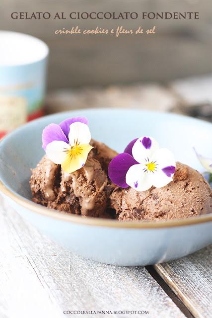 gelato al cioccolato fondente crinkle cookies e fleur de sel