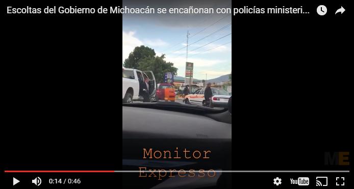 Escoltas de Silvano Aureoles amedrentan a policías ministeriales en Morelia (VIDEO)