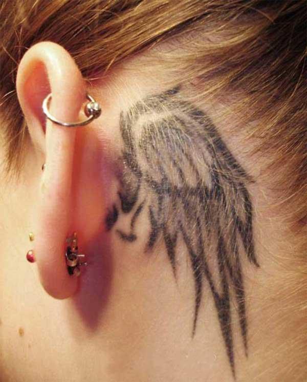 kulak arkası kanat dövmesi ear back wing tattoo