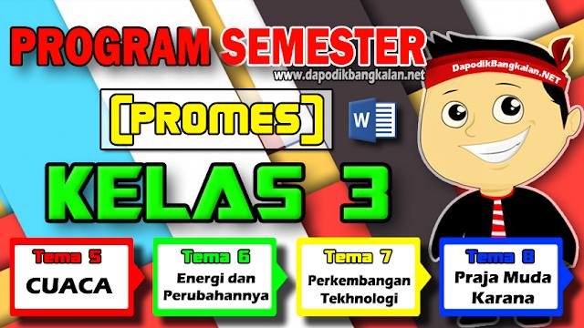 Promes Kelas 3 Semester 2 Kurikulum 2013 revisi 2018 Semua Tema