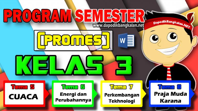 Promes Kelas 3 Semester 2 K13 revisi 2018 Semua Tema