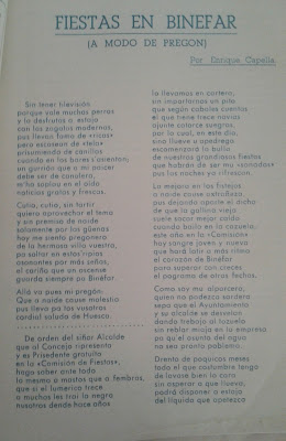 Pregón Fiestas Binéfar 1960