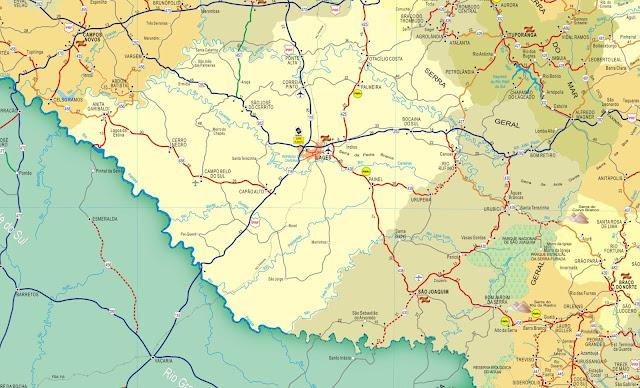 Mapa rodoviário da região de Lages - Santa Catarina