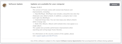 iTunes 11.0.3 Update Change Log