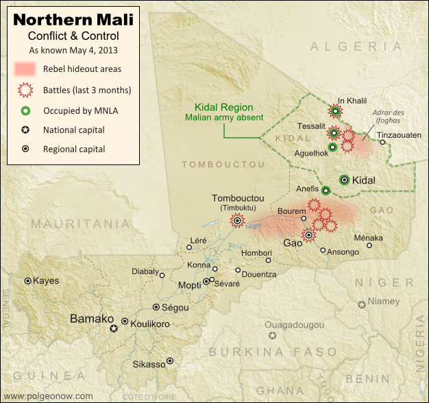 Updated map of fighting and territorial control in Mali during the 2013 French and African intervention against Islamist rebel groups MUJAO, Ansar Dine, and Al Qaeda in the Islamic Maghreb (AQIM). Reflects the situation as of May 4, 2013, including areas occupied by Tuareg rebels of the National Movement for the Liberation of Azawad (MNLA).