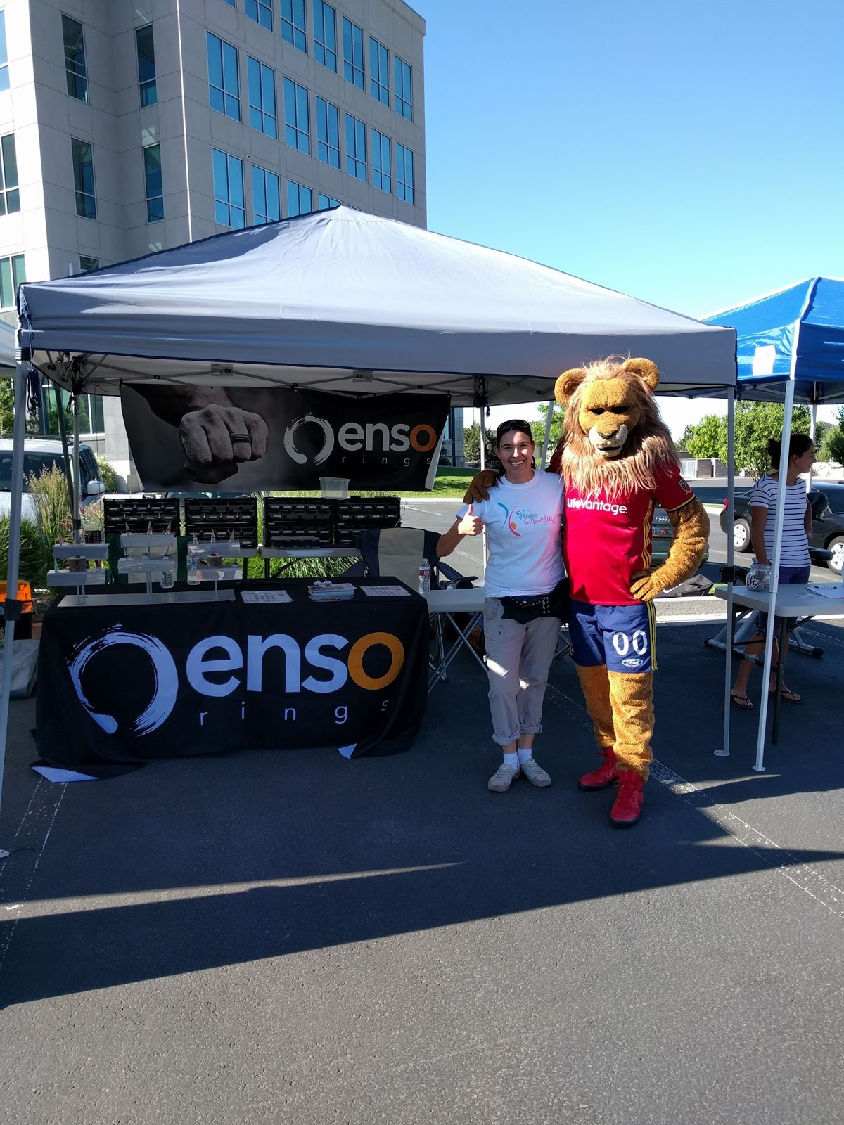 enso rings and leo the lion from RSL at our fertility fundraiser
