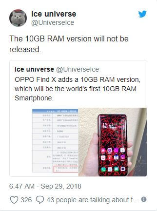 اوبو تتراجع عن Oppo Find X نسخة الـ 10GB من الرام