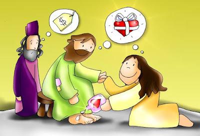 Resultado de imagem para maria lava os pés de jesus e revolta judas