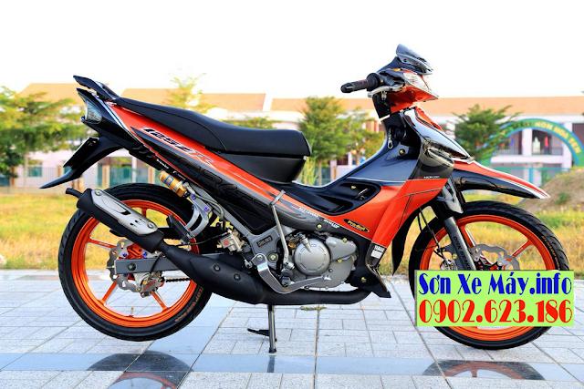 Sơn tem đấu Yamaha Z125 màu cam đen