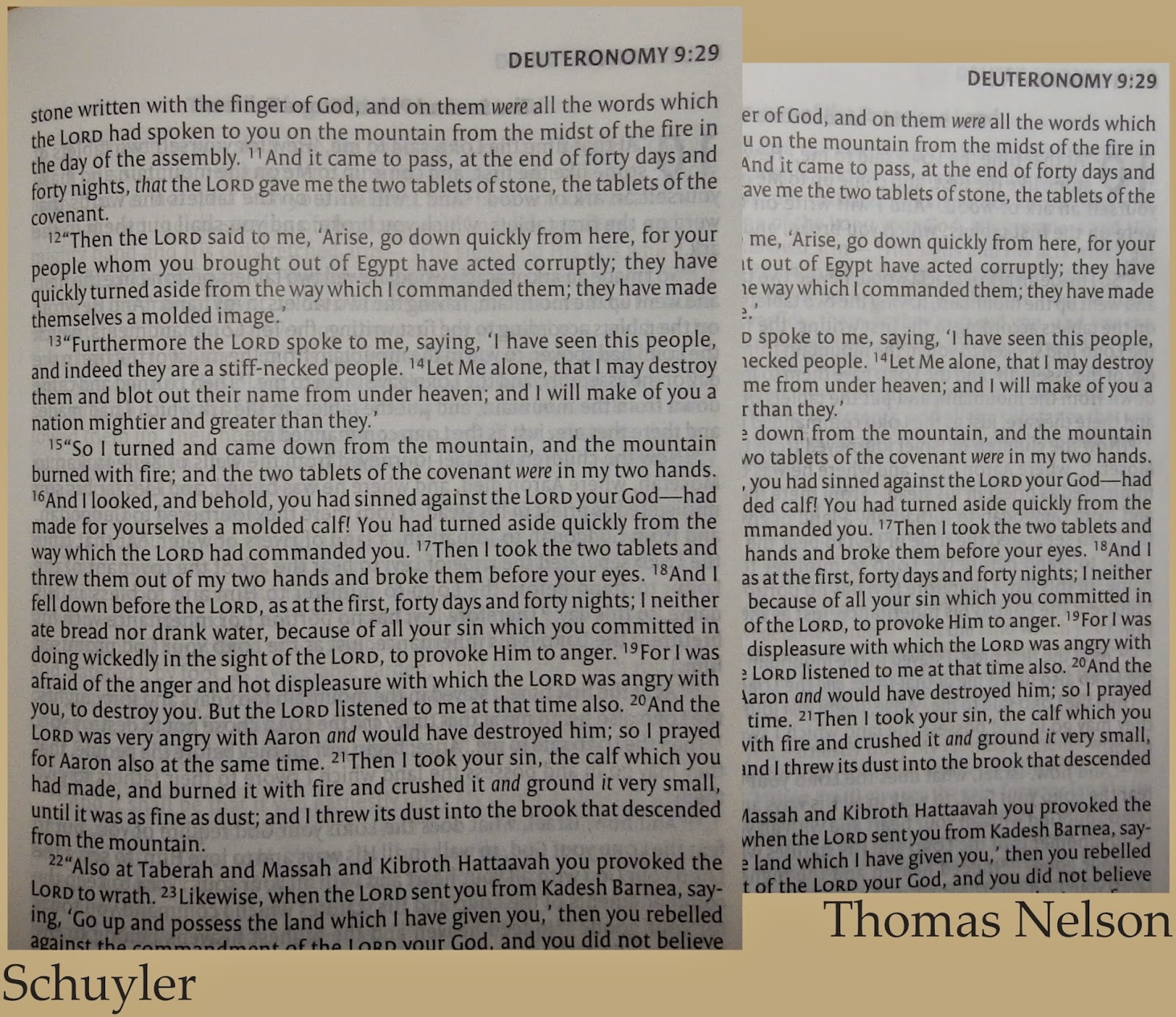 The Schuyler on the left has a slightly larger font.