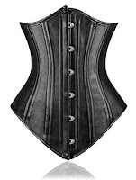 Steampunk black leather underbust corset long
