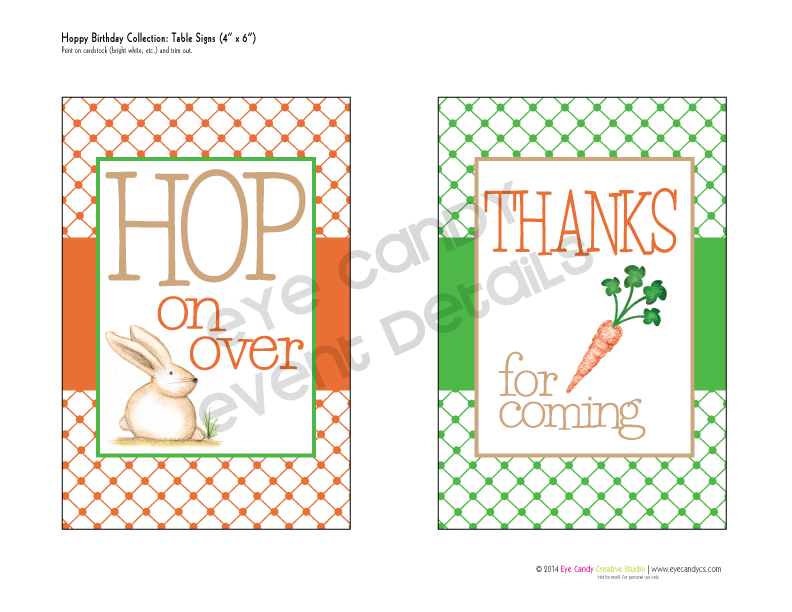 birthday signs, hop on over, thanks for coming sign, birthday party idea, illustrations