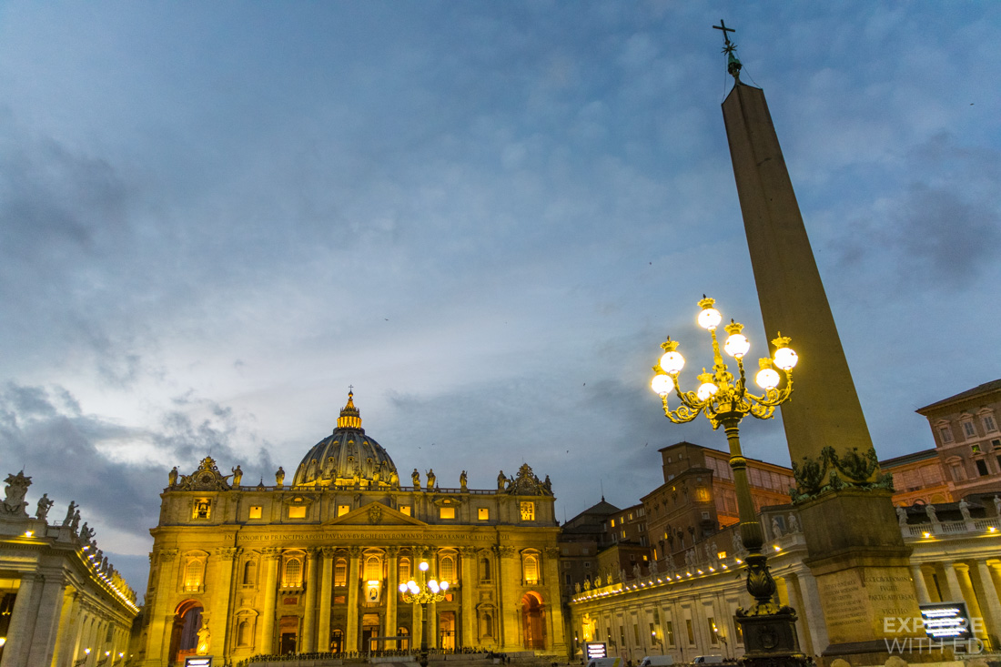 Saint Peter's Square at dusk