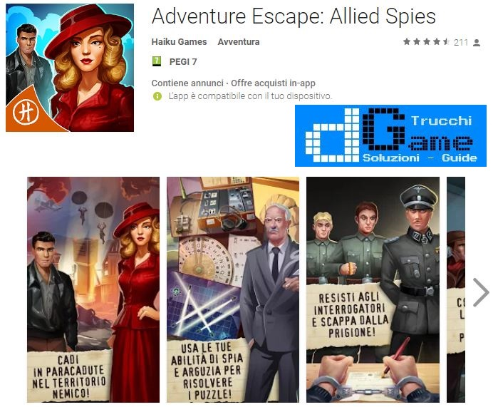 Soluzioni Adventure Escape: Allied Spies livello 1 2 3 4 5 6 7 8 9 10 | Trucchi e Walkthrough level