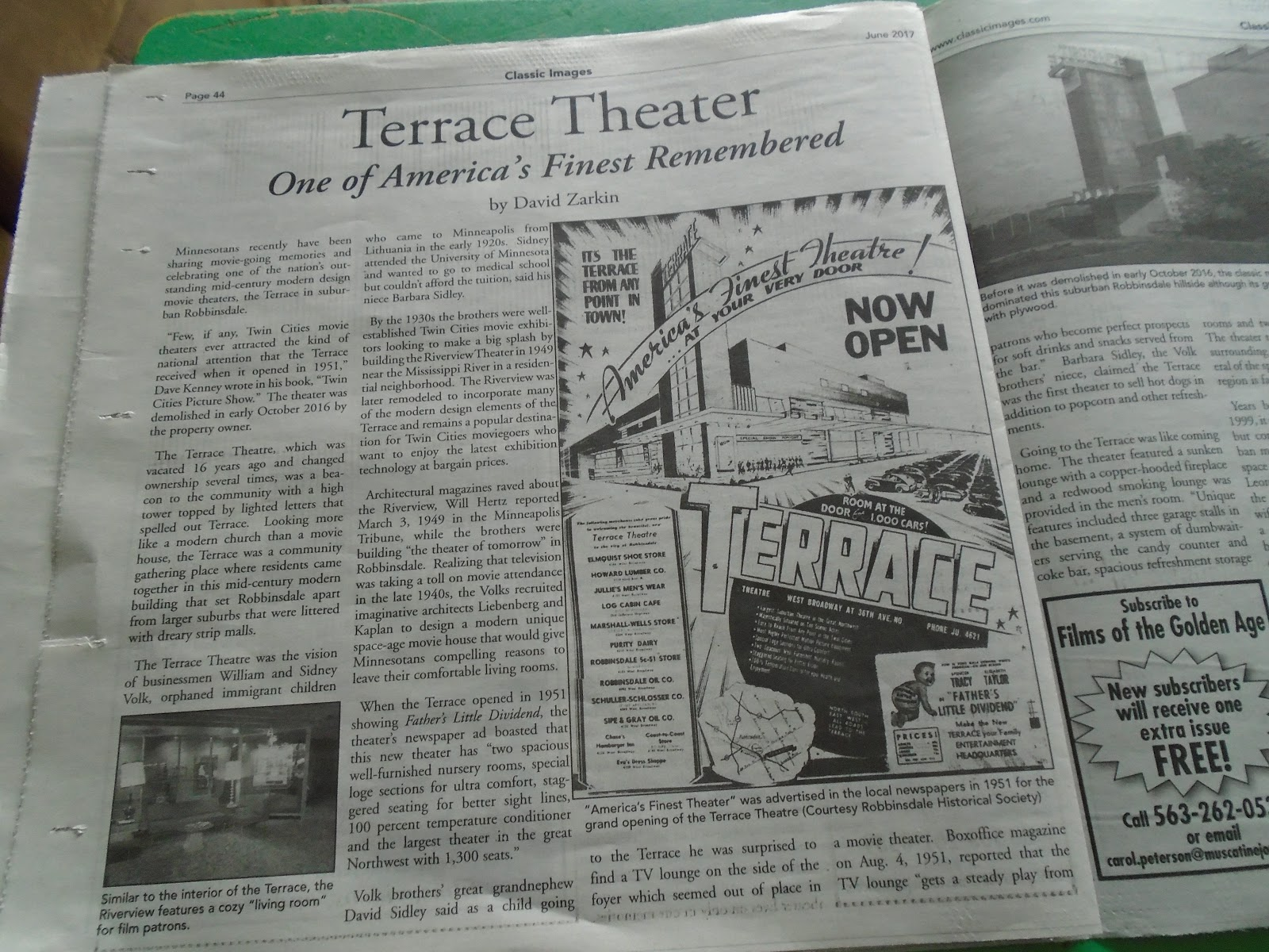 Cheezy movies and more magazine publishes terrace theatre for Terrace theater movie times