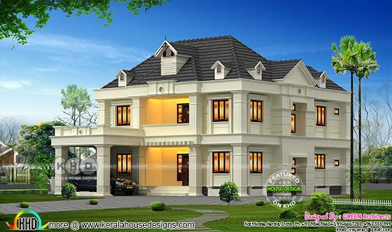 4 BHK, 3200 Sq-ft Colonial home in Calicut