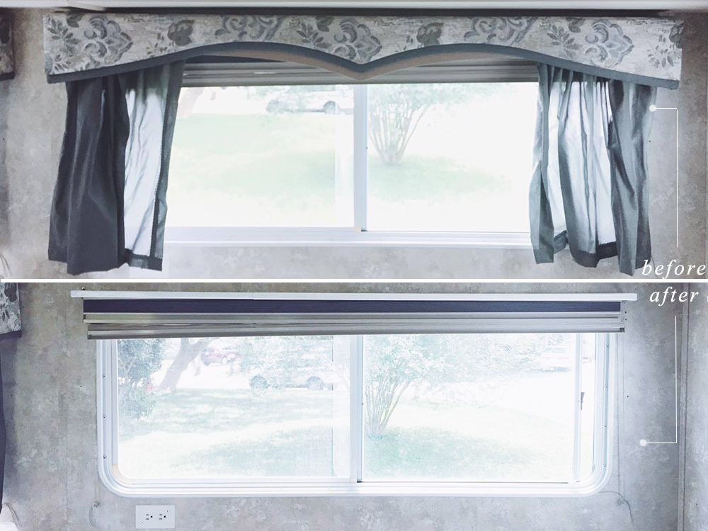 removing rv window treatment