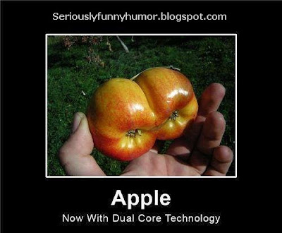 Apple - Now with dual core technology! Funny conjoined apples.