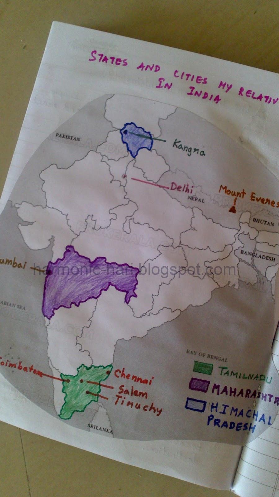 Harmonic Hari: States And Cities in India - Map