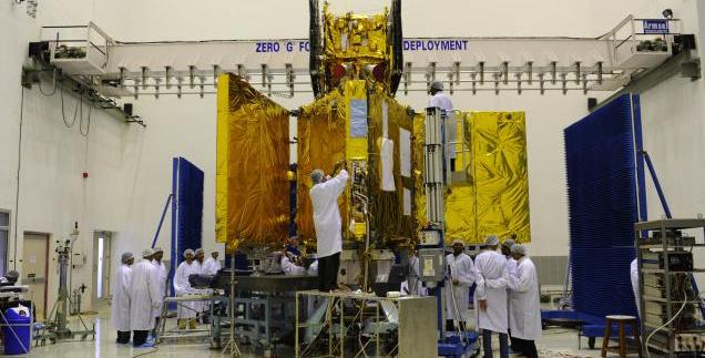 RISAT-1 undergoing prelaunch tests in the clean room at the Satish Dhawan Space Centre in Sriharikota. Photo Courtesy : ISRO