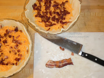 add bacon and shredded cheddar to pie crust