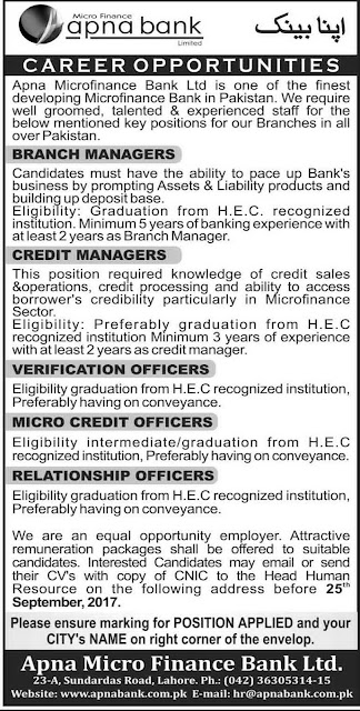 Apna Microfinance Bank Jobs in Pakistan 2017