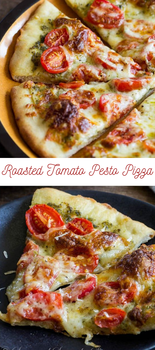 Roasted Tomato Pesto Pizza #tomato #vegetarian