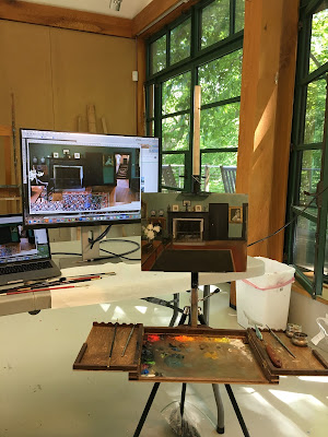 easel, monitor, painting set-up