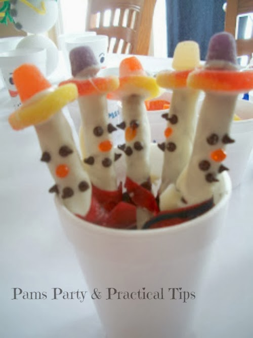 snowman pretzel treats made with candy