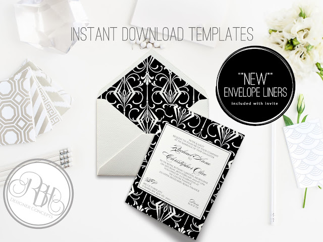 black white art deco invitation envelope liner by rbhdesignerconcepts
