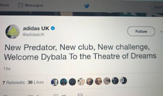 Twitter Adidas Sambut Paulo Dybala Gabung Manchester United Membuat Heboh