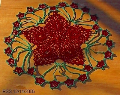 Red Star with Green - Hand-Crocheted in Fine Threads by RSS Designs In Fiber - Email for Custom Order Request