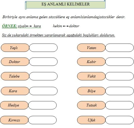 1 Sinif Turkce Es Anlamli Kelimeler Calisma Kagidi Ders Ve