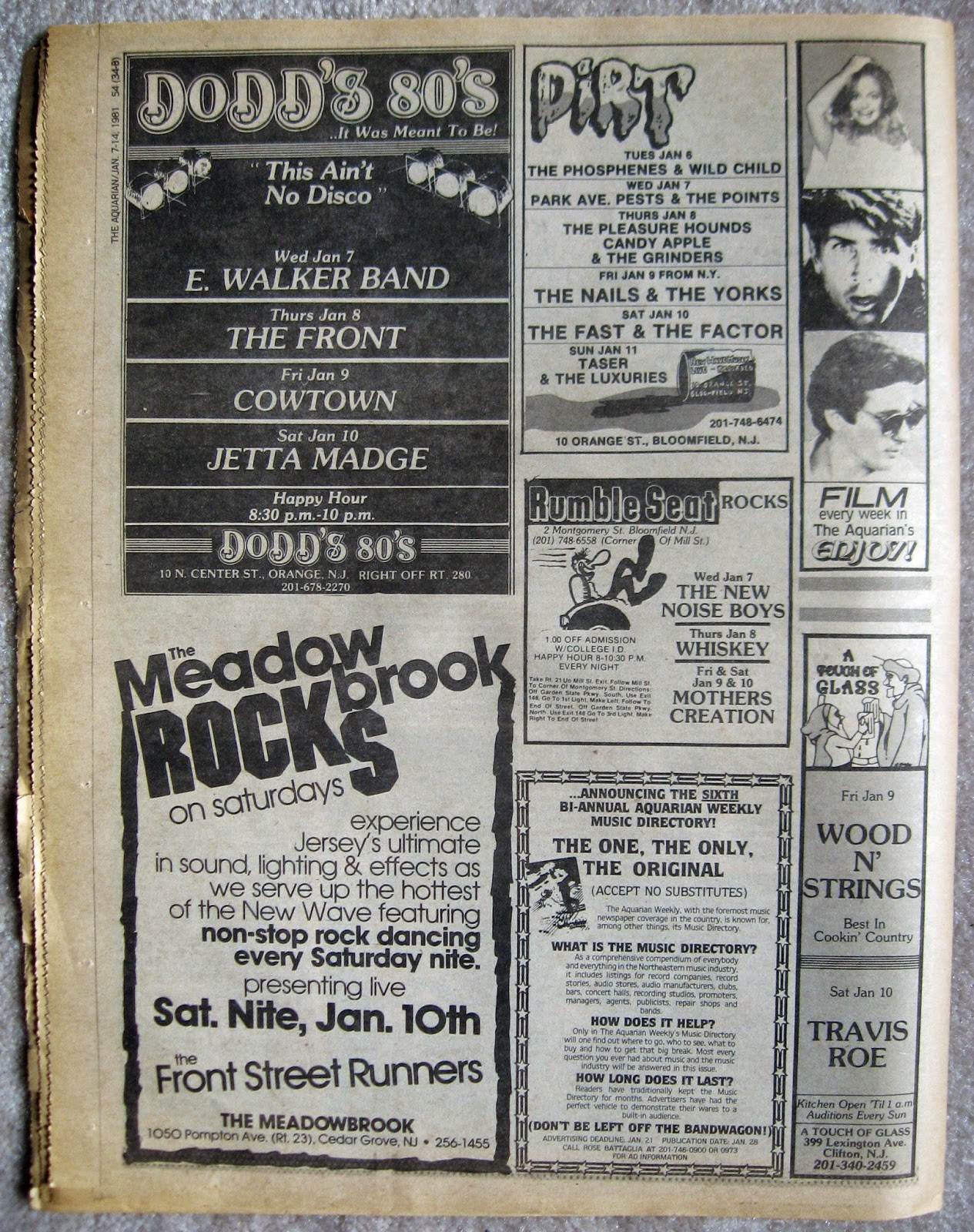 Dodd's 80's - The Meadowbrook - Dirt - Rumble Seat Rocks - A Touch Of Glass band line ups 1981