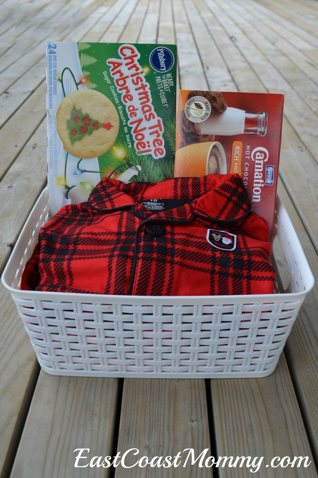 East coast mommy christmas eve gift basket with free printable tags you could add mugs whip cream and marshmallows too but i didnt have room in my basket negle Choice Image